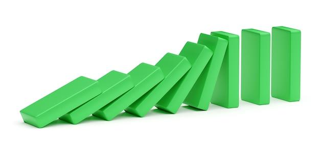 I blocchi verdi stanno spingendo. concetto di tendenze e problemi