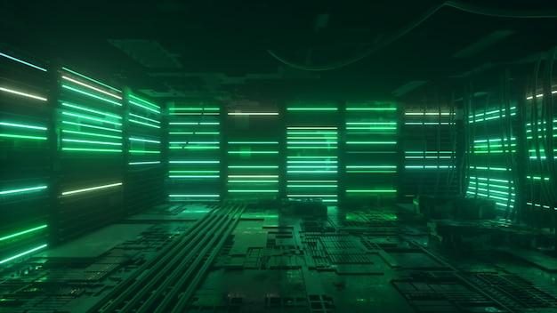 Lo sfondo al neon verde e blu appare e scompare