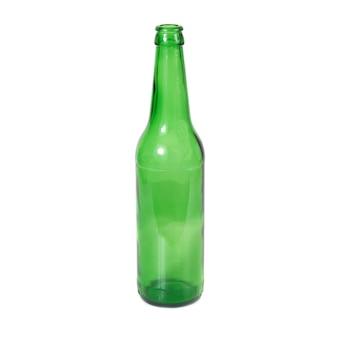 Bottiglia verde isolata sui precedenti bianchi