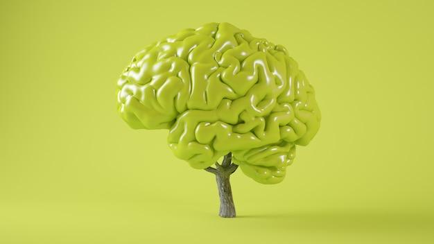 Rendering 3d di concetto albero cervello verde