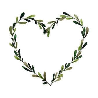 Ramo verde con foglie incorniciate a forma di cuore acquerello dipinto su bianco