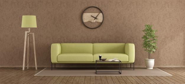 Salotto moderno verde e marrone