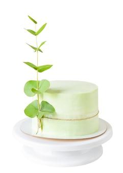 Torta verde decorata con un ramo di eucalipto isolato su sfondo bianco.