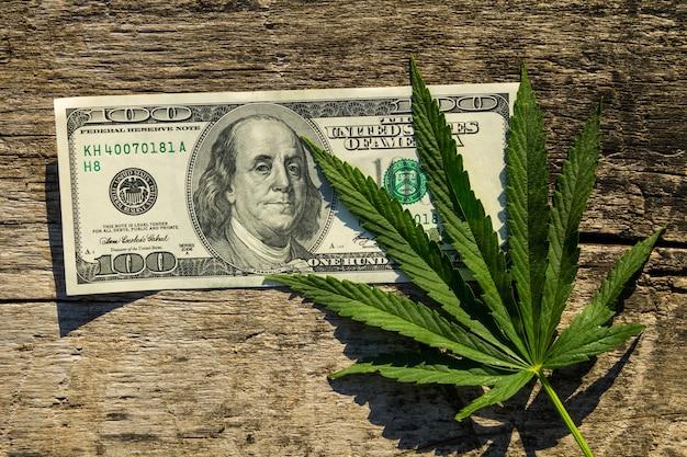 Foglia di cannabis verde e banconota da 100 dollari sul tavolo di legno