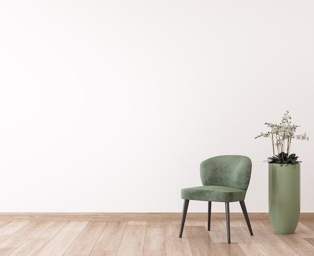 Sedia verde in spazio di legno, design moderno