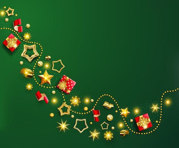 Banner di natale verde. sfondo di natale con ghirlanda, scatola regalo realistica, fiocco di neve e coriandoli rossi e oro glitter, confezione regalo.cartolina d'auguri natalizia chic, poster, biglietti d'auguri, intestazioni,