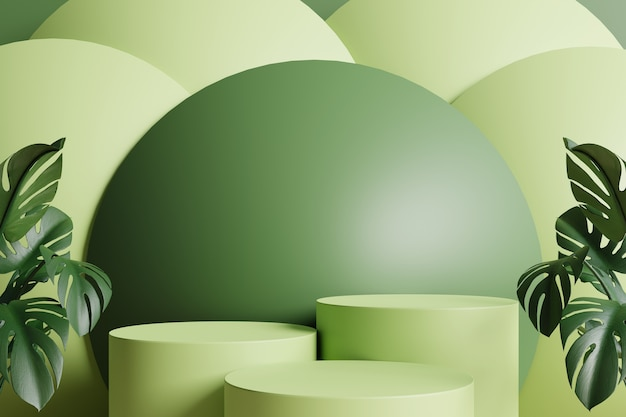 Podi a cerchio verde decorati con foglie verdi sui lati e sfera verde