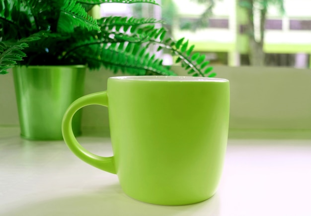 Tazza da caffè verde sul tavolo con una felce in vaso