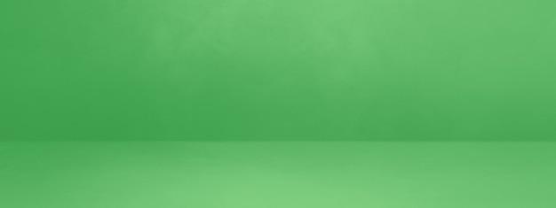 Banner di sfondo interno cemento verde. scena modello vuoto