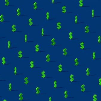 Segno di dollaro verde. sfondo blu. illustrazione astratta,