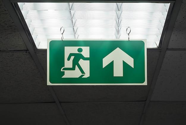 Segno di uscita di emergenza verde appendere al soffitto