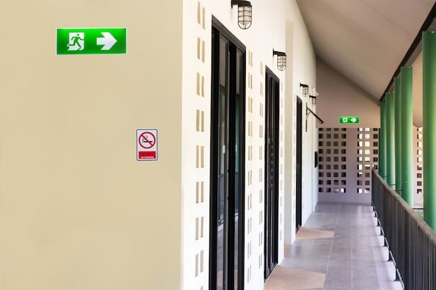 Segno verde dell'uscita di sicurezza da installare sopra la costruzione di edifici della porta che mostra la via di fuga