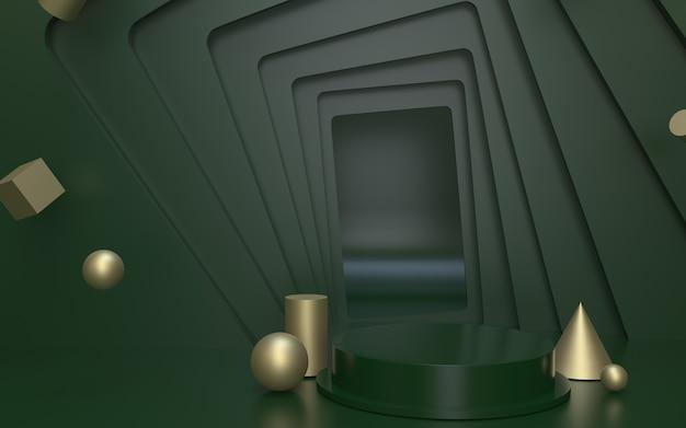 Palco podio vuoto verde per l'esposizione del prodotto con sfondo di oggetti geometrici in oro