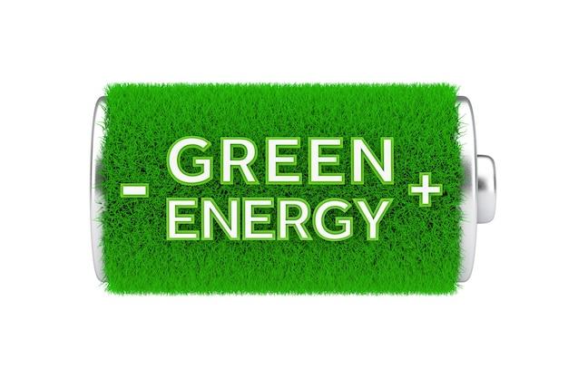 Concetto di energia verde. batteria completamente carica di erba verde con segno di energia verde su sfondo bianco. rendering 3d