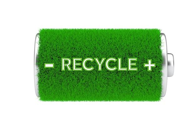Concetto di energia verde. batteria completamente carica di erba verde con segno di riciclo su sfondo bianco. rendering 3d
