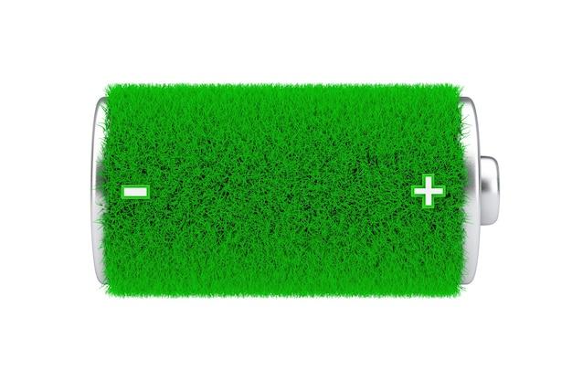 Concetto di energia verde. batteria completamente caricata greengrass su sfondo bianco. rendering 3d