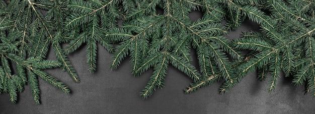 Rami di abete verde come una cornice su uno sfondo di lavagna nera. banner astratto con copia spazio