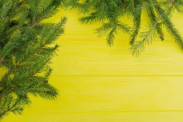 Abete verde su sfondo di tavole di legno.