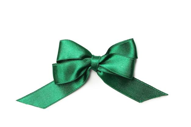 Fiocco regalo verde isolato su sfondo bianco