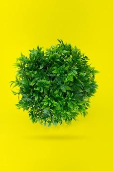 Palla erbosa verde, terra ricoperta di foglie su sfondo giallo. concetto giorno terra.