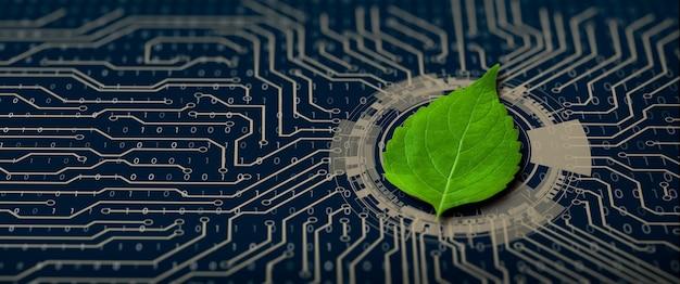 Foglia verde sul punto di convergenza del circuito del computer natura con convergenza digitale