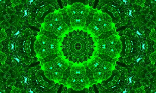 Modello di caleidoscopio di foglie verdi. fondo astratto del cerchio.