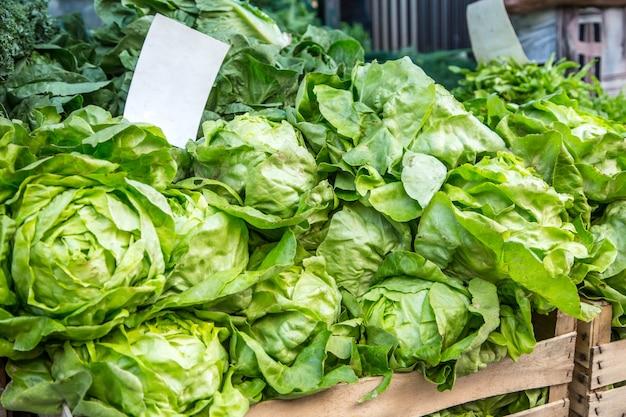 Insalata di lattuga verde sul mercato agricolo in città. frutta e verdura in un mercato degli agricoltori.