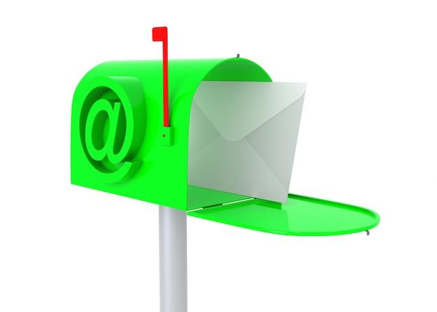 Cassetta postale verde con lettera. illustrazione 3d isolata su bianco.