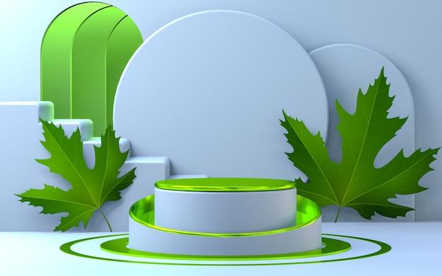 Verde metallizzato con foglie d'acero sullo sfondo della fase del prodotto sul podio per il rendering 3d della stagione primaverile