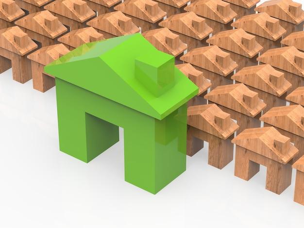 Casa verde con finte case in legno