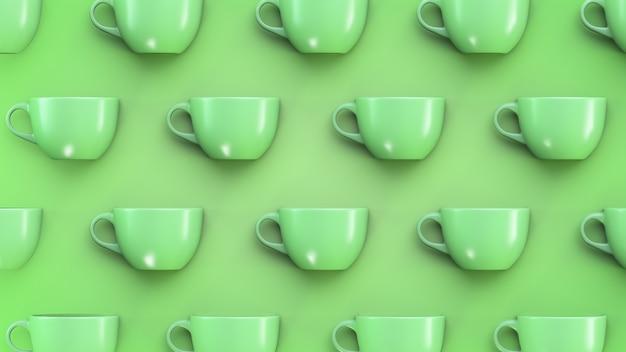Tazze verdi su sfondo verde.
