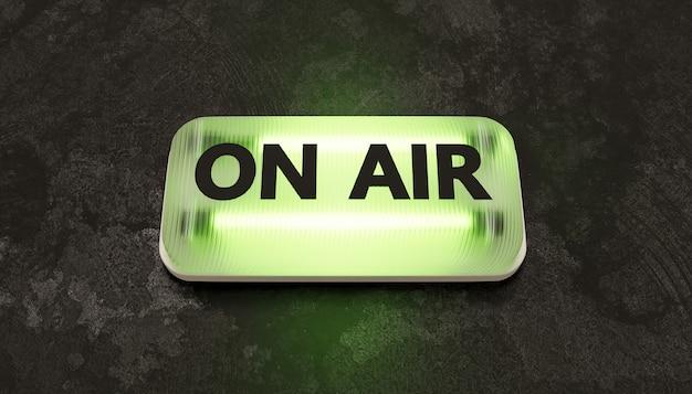 Insegna al neon verde con la parola on air