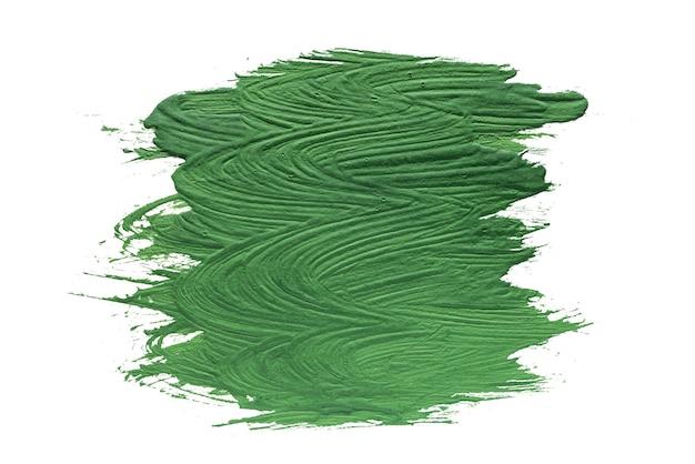 Macchia di pittura ad olio verde isolata su sfondo bianco