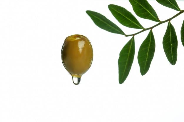 Verde oliva con olio isolato su sfondo bianco