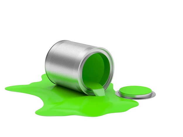 Vernice verde fuoriuscita da una lattina aperta