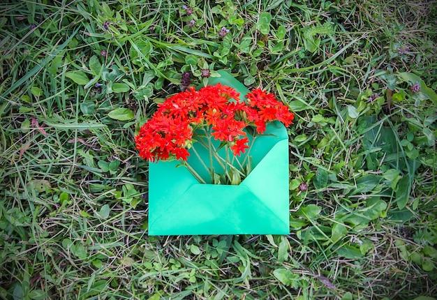 Busta di carta verde con fiori freschi di giardino black-eyed susan su sfondo verde erba. modello floreale festivo. progettazione di biglietti di auguri. vista dall'alto.