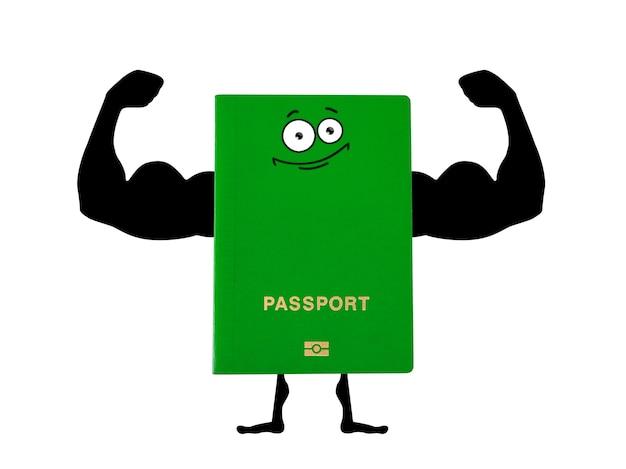 Passaporto verde con le mani disegnate a mano di un bodybuilder