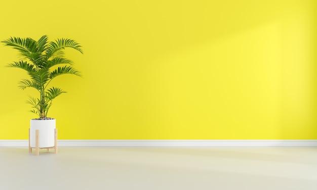 Pianta verde in soggiorno giallo con spazio libero