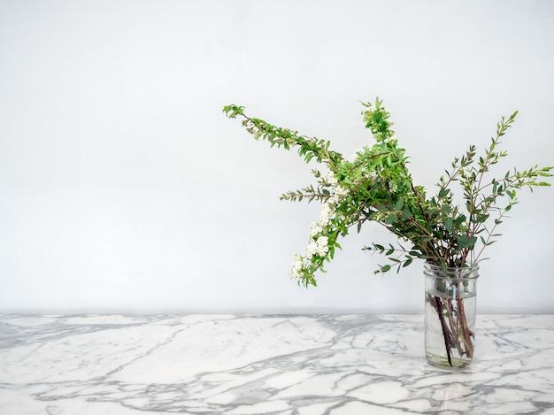 Piante verdi con i fiori bianchi in barattolo di vetro con acqua sulla tavola di marmo.