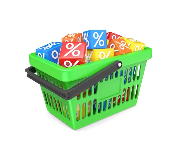 Cestino di plastica verde pieno di cubi percentuali multicolori isolati su bianco