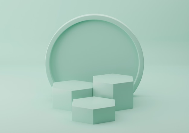 Prodotto podio verde per esposizione cosmetica con sfondo pastello. rendering 3d.