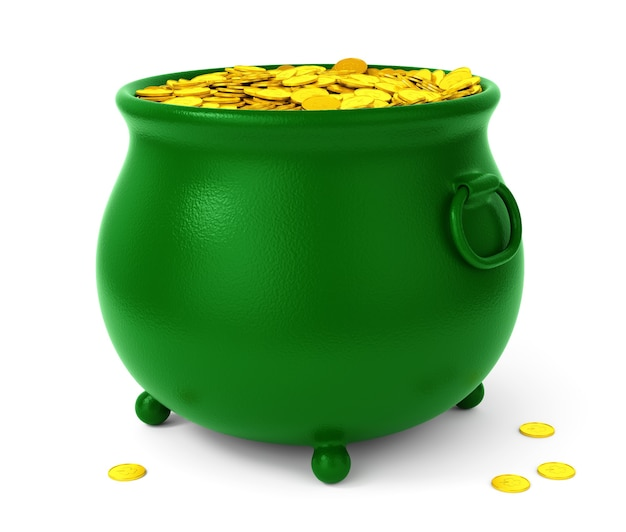 Pentola verde con monete d'oro