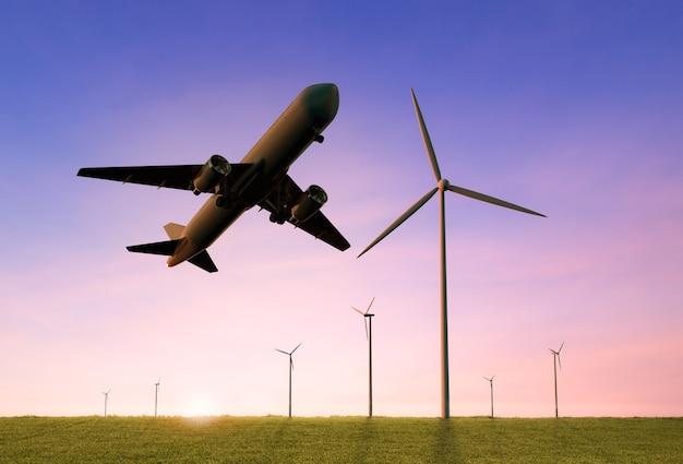 Il potere verde per il concetto di business delle compagnie aeree con l'aeroplano di rendering 3d vola sopra la fattoria del mulino a vento