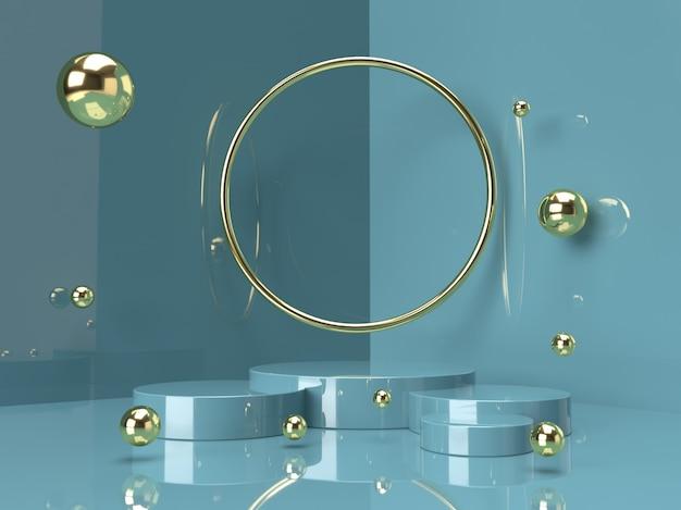 Stand di prodotto verde su sfondo. concetto di geometria minima astratta. rendering 3d