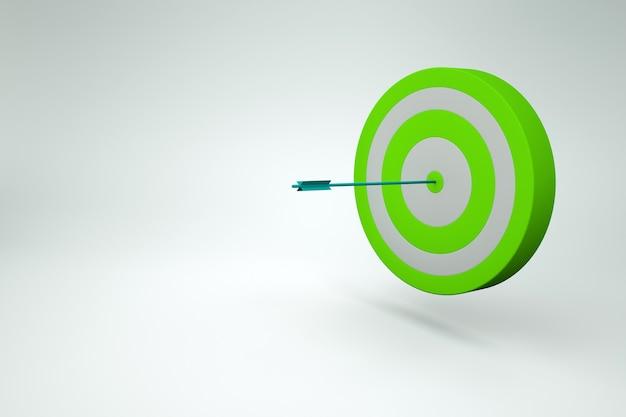 Bersaglio realistico verde con un dardo su uno sfondo bianco isolato. modello grafico 3d di freccette, bersagli con un dardo nel mezzo. grafica 3d