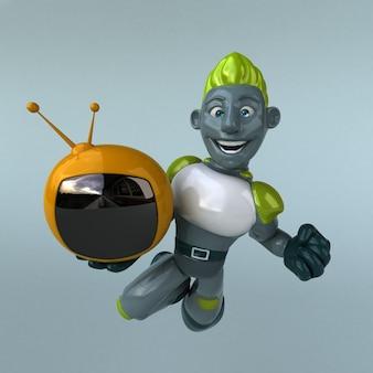 Robot verde - illustrazione 3d