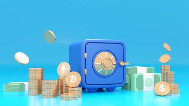 Cassetta di sicurezza verde con monete di criptovaluta bitcoin e pile di caratteri in dollari in contanti vista su sfondo blu. rendering 3d