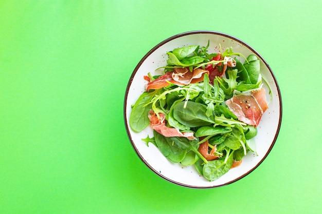Insalata verde jamon carne essiccata carne di maiale drycured mix di coscia foglie vegetali