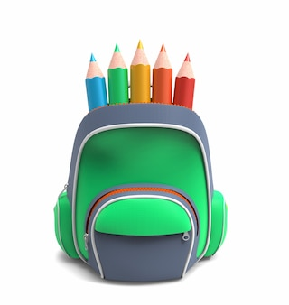 Zaino scuola verde con matite isolate su bianco