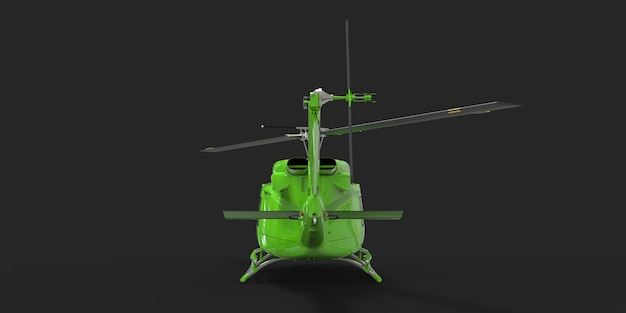 Verde piccolo elicottero da trasporto militare su sfondo nero isolato. il servizio di elisoccorso. aerotaxi. elicottero per polizia, vigili del fuoco, ambulanza e servizio di soccorso. illustrazione 3d.